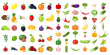 Set Of Fruits And Vegetables. ...