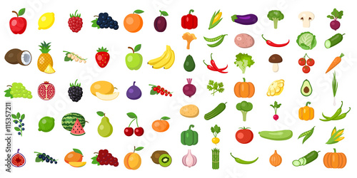 Poster Cuisine Set of fruits and vegetables. Different colorful vegetables and fruits. All kinds of green vegi and fruit for cooking meals, planting in garden.