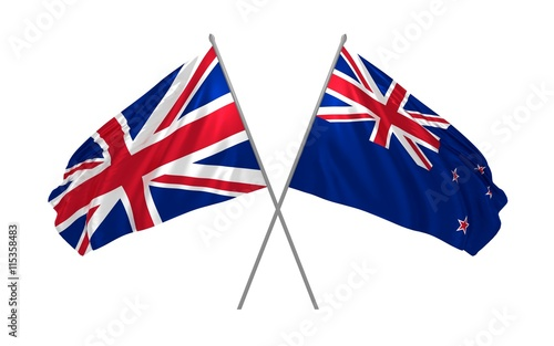 3d illustration of UK and New Zealand flags together waving in the