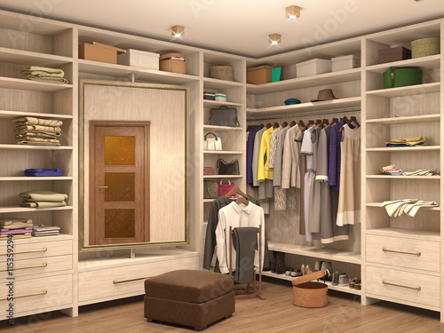 Fotografija white, dressing room, interior of a modern house. 3d illustratio