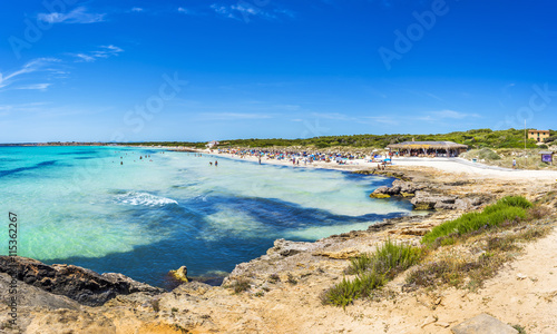 Playa Ses Covetes part of the long Es Trenc beach in Majorca Canvas Print
