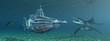 Fantasie Unterseeboot mit Unterwassertierwelt