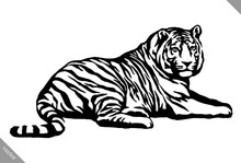 Black And White Ink Draw Tiger...