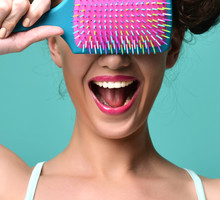 Happy Fashion Brunette Woman Close Eyes With Colorful Pink Blue