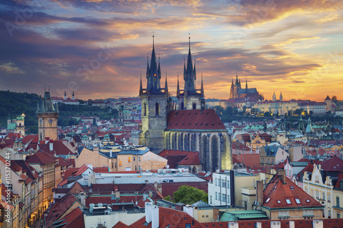 Ingelijste posters Praag Prague. Image of Prague, capital city of Czech Republic, during dramatic sunset.