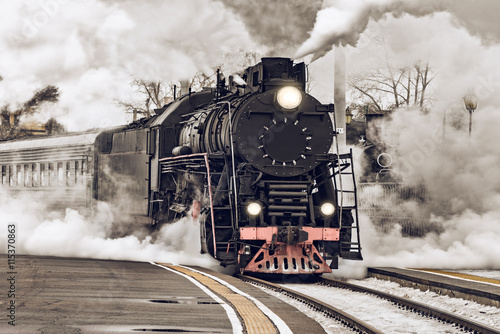 Fototapeta Retro steam train. obraz na płótnie