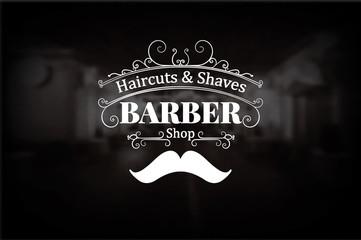 Fototapeta Do fryzjera Vintage barber shop logo