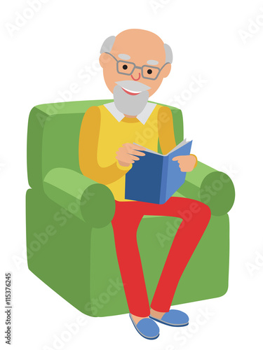Happy Senior Man Sitting On The Sofa Read Book And Rest