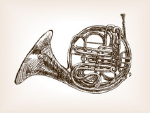 French Horn Hand Drawn Sketch ...