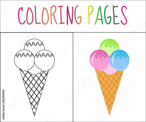 Coloring Book Page Ice Cream Sketch And Color Version Coloring