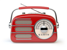 Red Vintage Retro Radio Receiver Isolated On White.