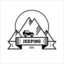 Logo Jeeping. Vector Sign Riding Jeep Off-road Mountains In The Background. Travel, Tourism, Hobby, Sport
