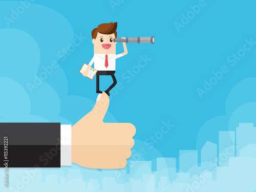 Photo businessman standing on hand of boss and using telescope searching for opportunities