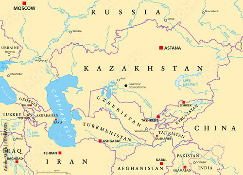 caucasus and central asia political map with countries their capitals national borders important