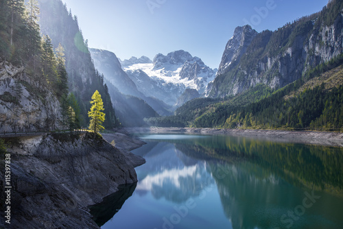 Canvas Prints Alps Dachstein glacier reflecting in Gosausee, Salzkammergut, Upper A