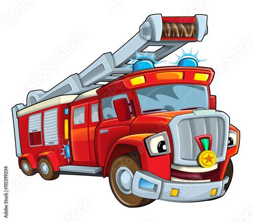 Fototapety, obrazy: Cartoon funny firetruck - isolated - illustration for children