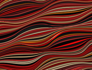 Panel Szklany Beautiful vintage pattern in red, yellow, black. The ornament of twisted lines. Abstract vector background with 3D effect