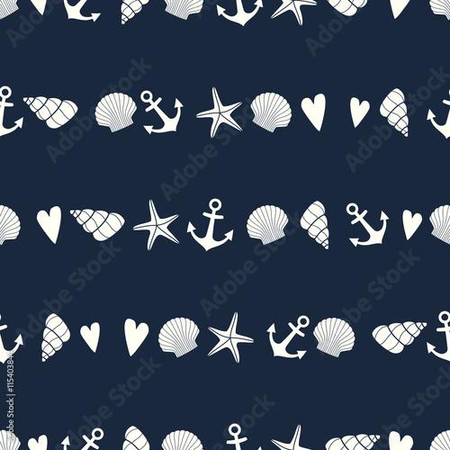 Morski wzór z rozgwiazdy, muszli i kotwicy. Tło ładny życia morskiego. Motyw morski. Projektowanie tkanin, tekstyliów, poduszek i dekoracji.