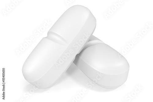 Two white medical pills isoleted. 3d illustration Wallpaper Mural