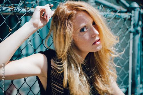 fototapeta na lodówkę close up red hair girl