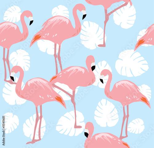 Canvas Prints Flamingo Bird Flamingos Seamless Background