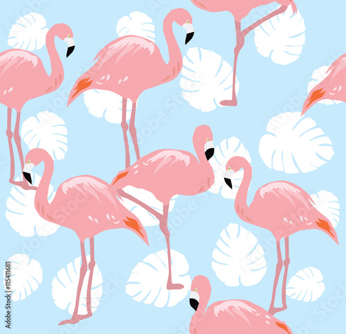 Canvas Prints Flamingos Seamless Background
