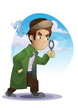 detective cartoon with separated layers for game and animation, game design asset