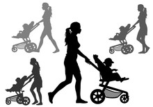 Mother With Children On Walk