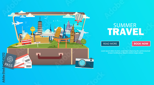 Poster Turquoise Trip to World. Travel to World. Vacation. Road trip. Tourism. Travel banner. Open suitcase with landmarks. Journey. Travelling illustration. Modern flat design. EPS 10. Colorful.