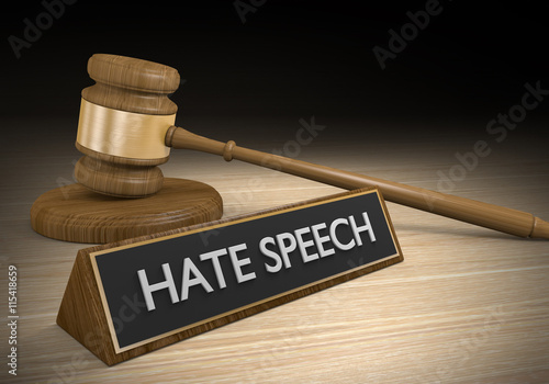 Valokuva  Laws against hate speech and other inciteful language, 3D rendering