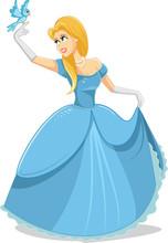 Beautiful Princess With Magic Bird Vector Illustration