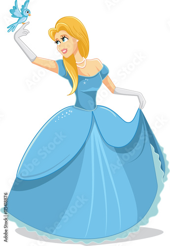 In de dag Sprookjeswereld Beautiful Princess with Magic Bird Vector Illustration