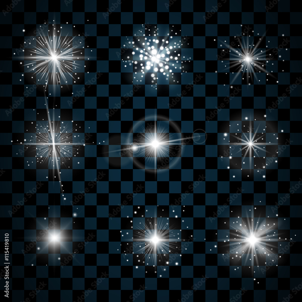 Fototapety, obrazy: Shine stars with glitters and sparkles icons set. Effect twinkle, glare, scintillation element sign, graphic light. Transparent design elements on dark background. Varied template. Vector illustration