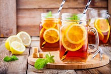 Ice Tea With Slice Of Lemon In Mason Jar