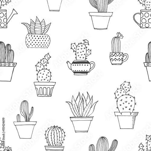 Hand drawn seamless pattern with cute cactus in simple style  Cute