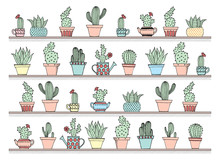Colorful Background With Cute Cactus Set In Simple Hand Drawn Style. Cute Cartoon Potted Cacti Background. Vector Illustration.