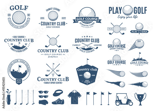 Obraz na plátne Golf club logo, labels, icons and design element