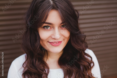 obraz PCV beautiful young girl with a clean fresh face close up