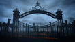 canvas print picture - Horror night cemetery, grave. Moonlight . halloween concept. 3d rendering