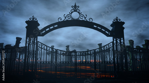 Fotografie, Obraz  Horror night cemetery, grave