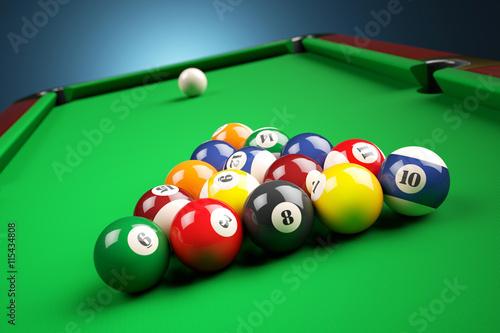 Fotografie, Obraz  Snooker billiard pyramid on green table. 3d illustration