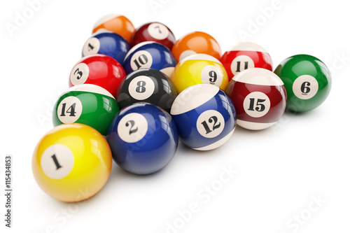 Fotografie, Obraz  Pool billiard balls pyramid isolated on white background 3d