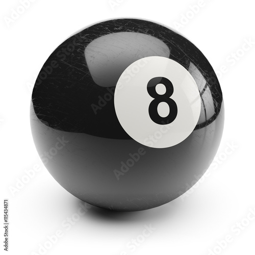 Fotografie, Tablou  Billiard black eight ball. Isolated on white background 3d