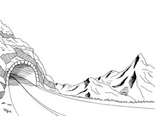 Mountain Road Tunnel Graphic Art Black White Landscape Sketch Illustration Vector
