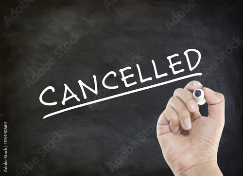 CANCELLED - business concept with hand writing Wallpaper Mural