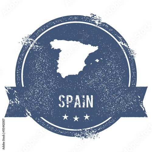 Map Of Spain To Label.Spain Mark Travel Rubber Stamp With The Name And Map Of Spain
