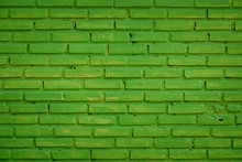 Decorative Green Brick Wall Pattern And Painted