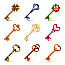 Old Keys Icons Vector Set