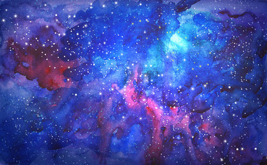 Fototapeta Kosmos blue universe space abstract background. watercolor illustration
