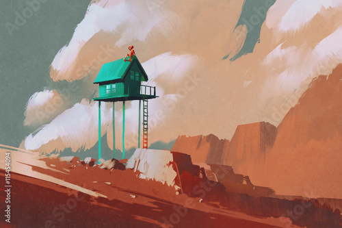little green house on large boulders,illustration,digital painting
